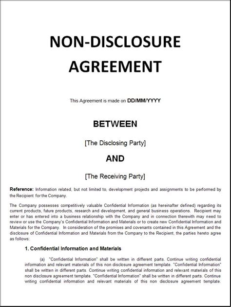 Non Disclosure Agreement Template Word Excel Formats Exle Of Non Disclosure Agreement Template