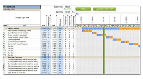 Construction Schedule Template Excel Free by Construction Schedule Template Peerpex