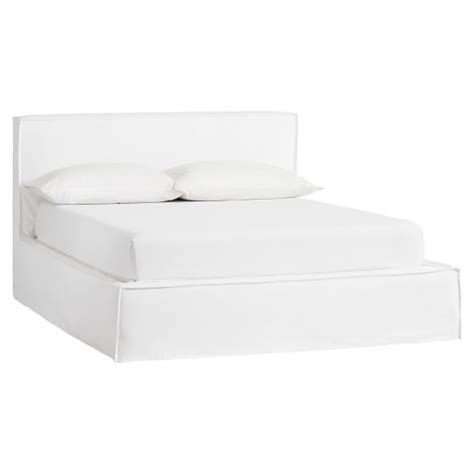 slipcovered bed reese platform bed frame slipcover set pbteen