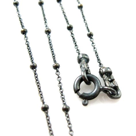 silver chain for jewelry oxidized silver necklace oxidized sterling silver chain