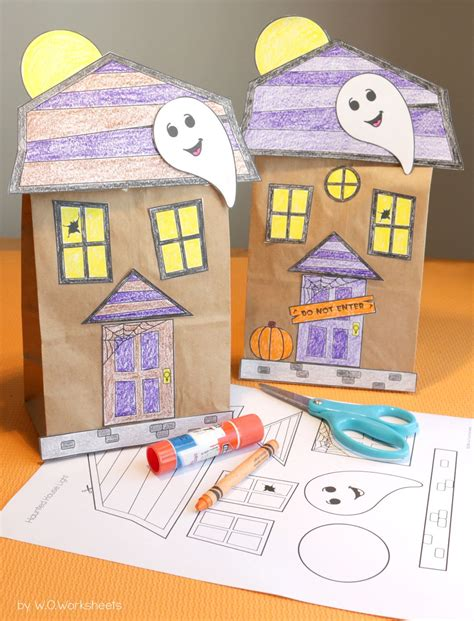 paper bag house craft craft haunted house craft activities haunted
