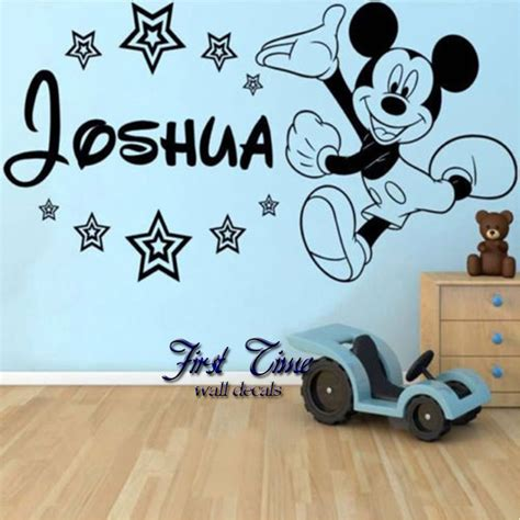 baby mickey mouse wall stickers personalised name mickey mouse wall sticker classic baby
