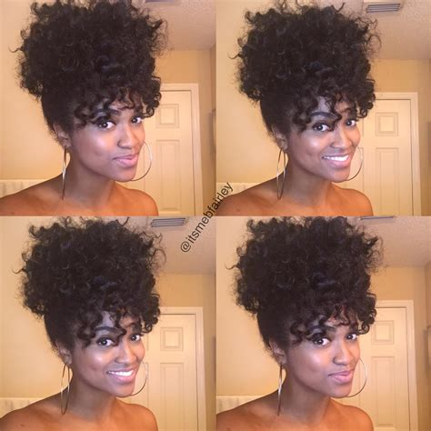 natural hairstyles for high forhead black hair ponytail bangs from twist out perm rods natural