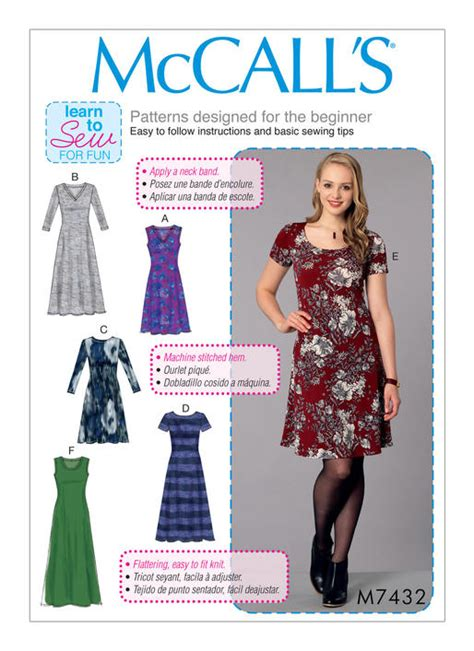 knit sewing patterns mccall s 7432 misses knit dresses with v crew or scoop