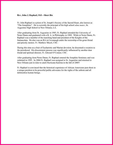 biography letter exle biography format for high school high school biography sle
