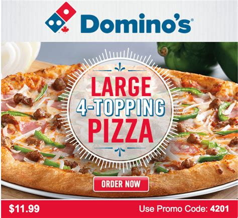 Pizza Spesial Mix 4 Topping Larg domino s pizza deals large 4 topping pizza for 11 99 use promo code more deals canadian