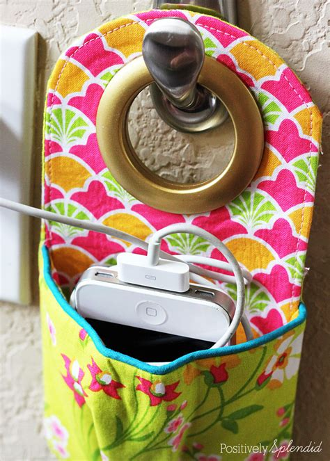 hanging charging station diy fabric phone charging station