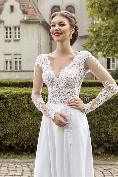 Most Popular Lace Chiffon Bridal Dress Appliques Side Slit