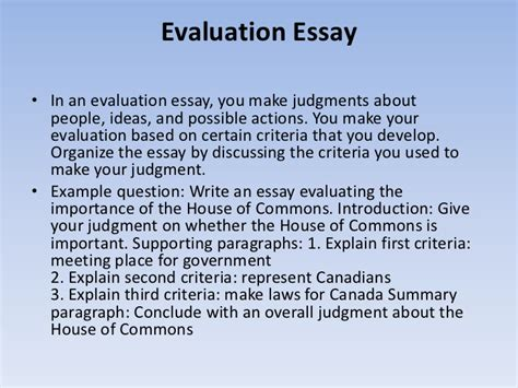 Exle How To Write An Essay by How To Write An Evaluation Paper 28 Images Evaluation Essay Outline Best Photos Of Self