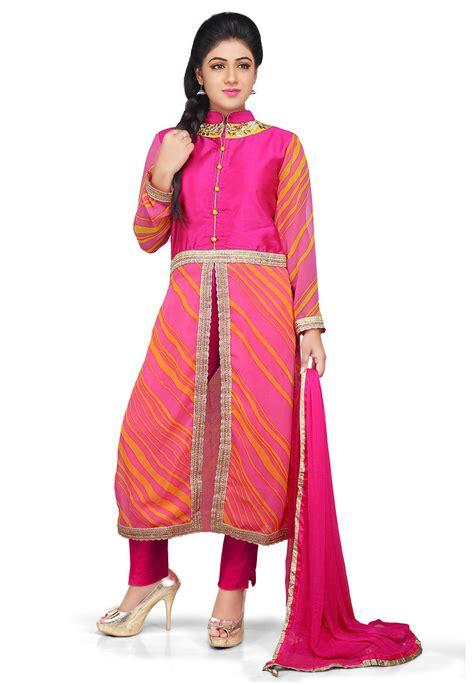 front slit a line kurti salwar kameez marking cutting printed georgette front slit a line suit in pink kjn1868
