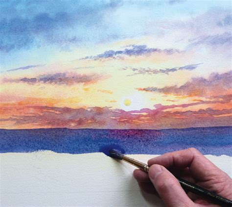 watercolor tutorial beach how to paint a sunrise and sunset watercolor jd art 10