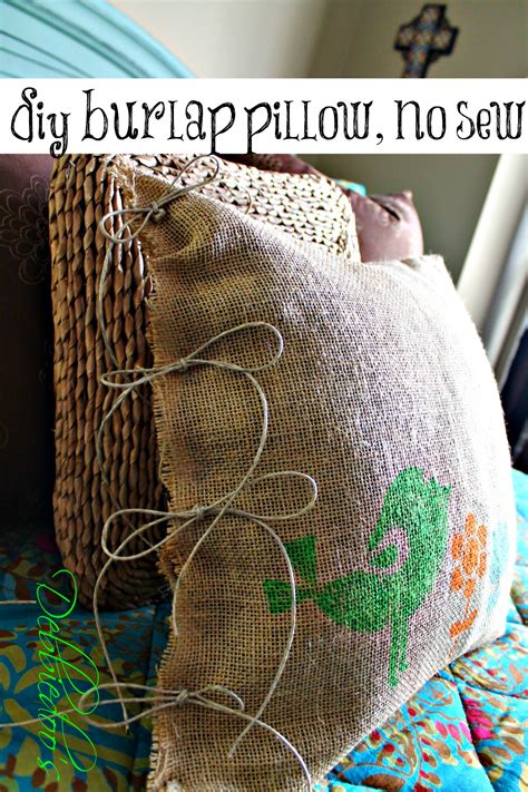 How To Sew Burlap Pillows by Diy No Sew Burlap Pillow Stenciled With Fabric Markers Debbiedoos