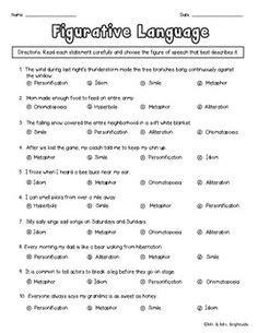 printable quiz on figurative language worksheets simile metaphor personification worksheet