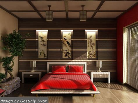 chinese japanese and other oriental interior design интерьер спальни декор стены в изголовье кровати