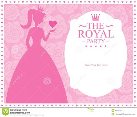 princess birthday card template princess template card design stock vector illustration