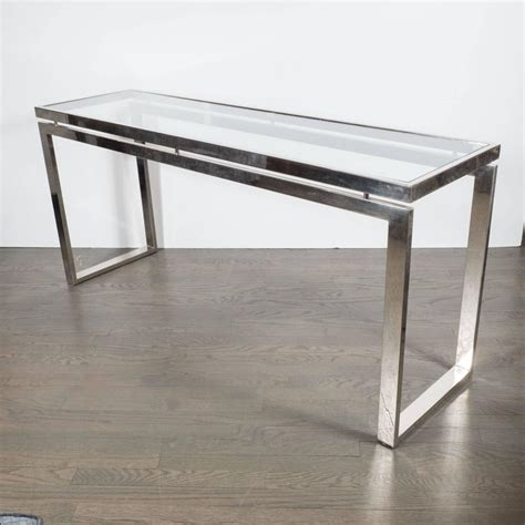 Glass And Chrome Console Table Mid Century Modernist Chrome And Glass Console Or Sofa Table By Milo Baughman For Sale At 1stdibs