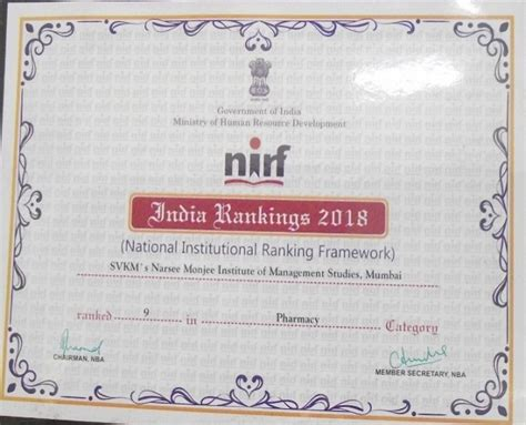 Nirf Ranking 2017 Mba by Sppsptm Is Ranked 9th In The Country Amongst All Pharmacy