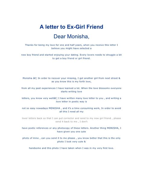 thank you letter to girlfriends a letter to ex