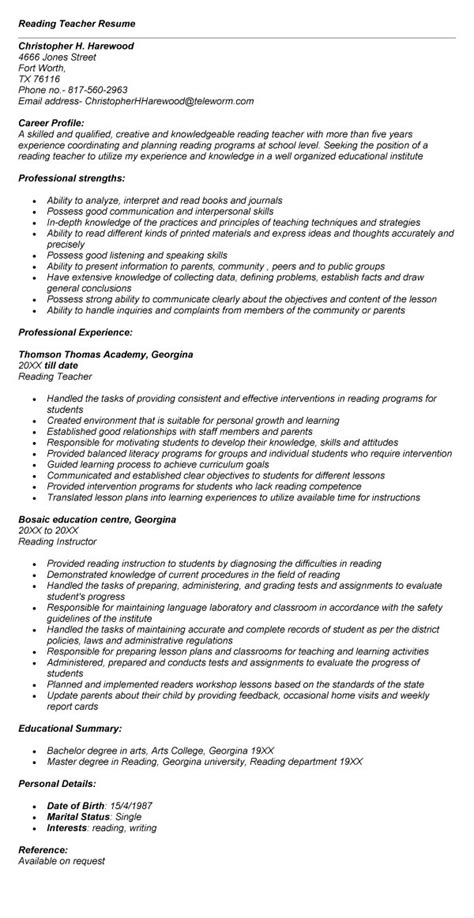 reading teacher resume sales teacher lewesmr