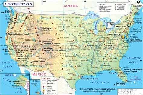 map of usa showing states map of usa showing point of interest major cities