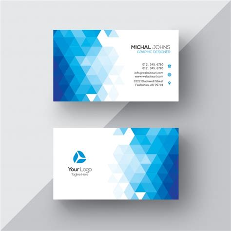 Blue And White Business Cards
