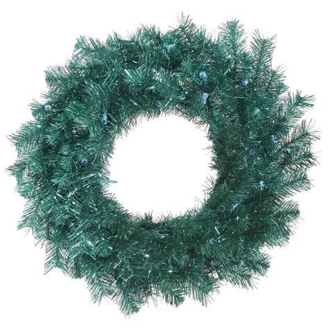 vickerman 329559 24 quot aqua tinsel christmas wreath