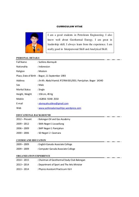 Engineering Student Resume Sample by Search Results For Contoh Curriculum Vitae Calendar 2015