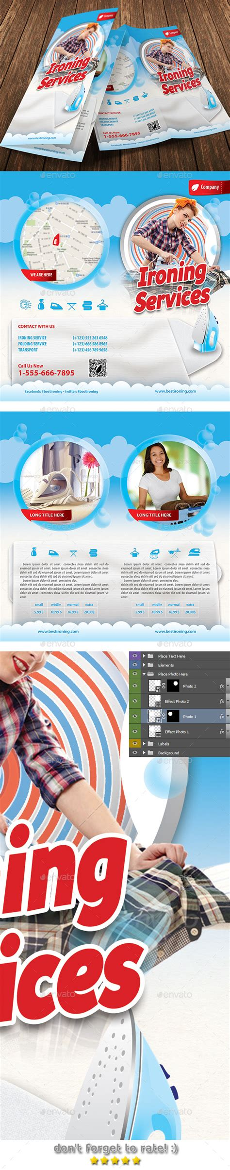 ironing service flyer template ironing and laundry services offer bifold brochure by