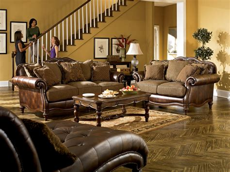 claremore antique living room set ashley claremore antique sofa and loveseat