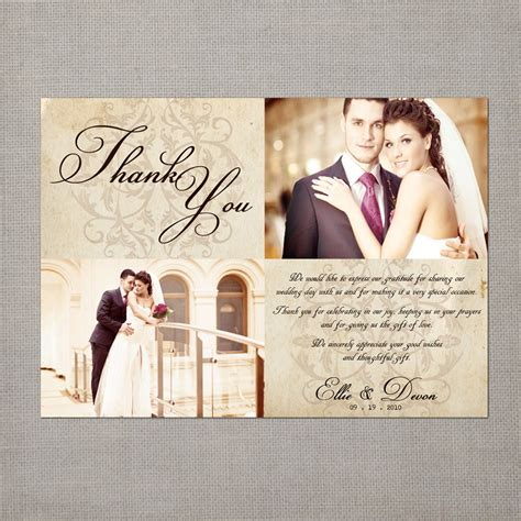 vintage wedding thank you cards 5x7 wedding thank you cards - Wedding Photo Thank You Cards