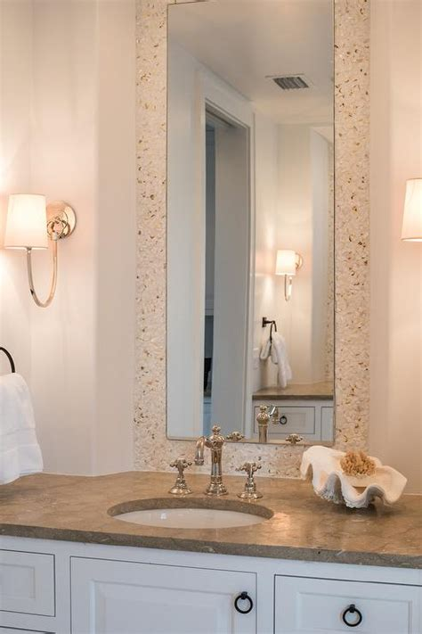 cream bathroom mirror white and cream cottage bathroom with cream mosaic tiles