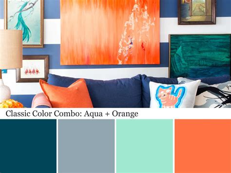 orange and blue combination decorating with aqua color palette and schemes for rooms