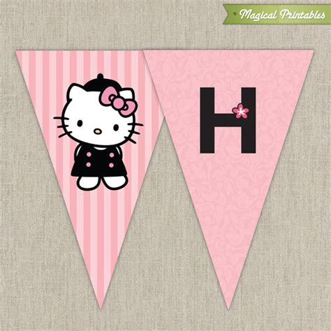 hello birthday banner template free hello with poodle printable birthday banner pink and black
