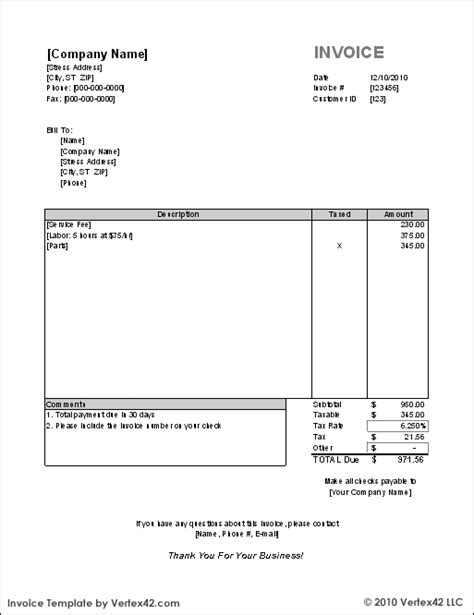 Canada Invoice Template   printable invoice template