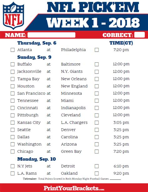 printable version of nfl schedule central time week 1 nfl schedule 2018 printable
