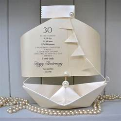 30th pearl wedding anniversary paper boat card by the boathouse notonthehighstreet