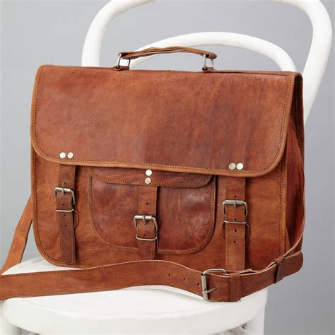 laptop bags leather classic leather laptop bag with handle and pocket by vida vida notonthehighstreet