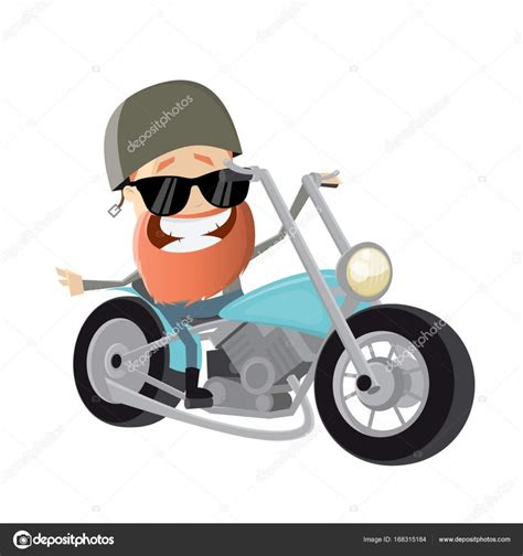 Motorradtouren Zum Runterladen by Lustige Comic Biker Auf Motorrad Stockvektor