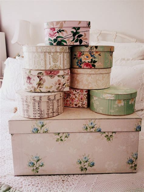 Decorating Hat Boxes adeline country cottage vintage wallpaper storage boxes