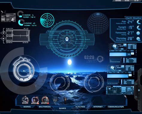 pc themes live hi tech desktop rainmeter for all windows by takeshikawa