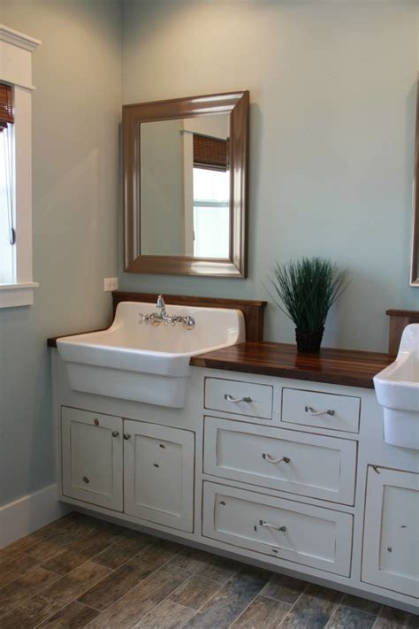 farm sink bathroom vanity farmhouse sink vanity bathroom craftsman with basket lights board and