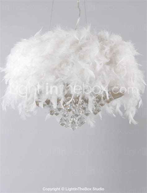 Diy Feather Chandelier White Feather Chandelier With 3 Lights Drop Featured