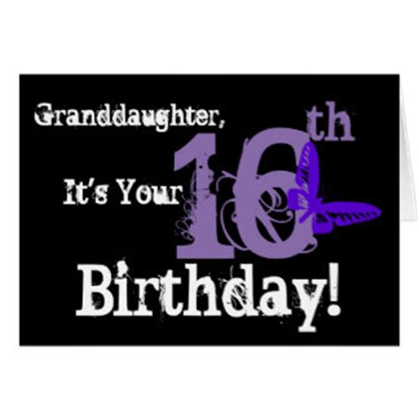 Granddaughter 16th Birthday Cards Granddaughter S 16th Birthday Purple Butterfly Greeting Card