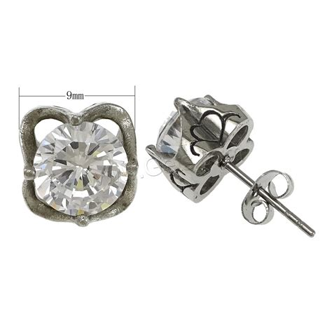 Steel Earrings With Cubic Zirconia stainless steel cubic zirconia stud earring flower with