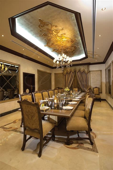 large elegant dining table seating   unique ceiling