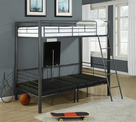 metal twin loft bed charcoal gray metal twin bunk bed from monarch 2236 coleman furniture
