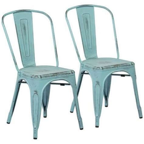 bristow set of 2 antique sky blue metal dining chairs