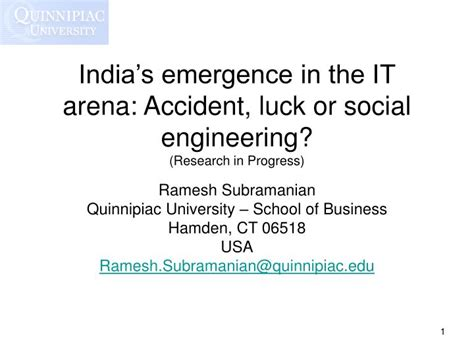 Of Connecticut Mba Toefl Code by Ppt India S Emergence In The It Arena Luck Or
