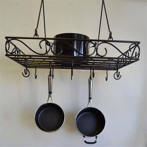 Iron Pot Racks For Kitchen j j wire scrolled wrought iron pot rack pot racks at hayneedle