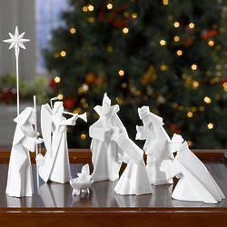 Porcelain Origami Nativity Set - porcelain origami nativity findgift